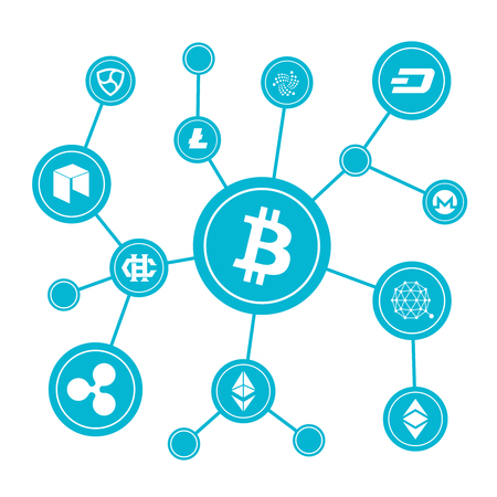 electronic background: Blockchain blocks with cryptocurrency symbols. Internet money btc market vector concept. Bitcoin digital currency, money virtual cryptography illustration