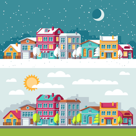 residential homes: Winter and summer landscape with city houses flat vector illustration. Building cityscape architecture town street Illustration