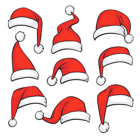 Rode kerstmutsen met witte vacht. Geïsoleerde Kerst vakantie vector decoratie. Kerstmuts kerstman illustratie Stockfoto - 87287668