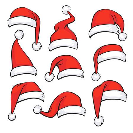 Santa rote Hüte mit weißem Fell. Lokalisierte Weihnachtsfeiertags-Vektordekoration. Weihnachtshut Weihnachtsmann-Illustration
