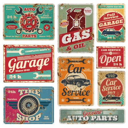 Oldtimerservice en benzinestation vector metalen borden. Benzinestation voor auto, de illustratie van de metaal grunge banner