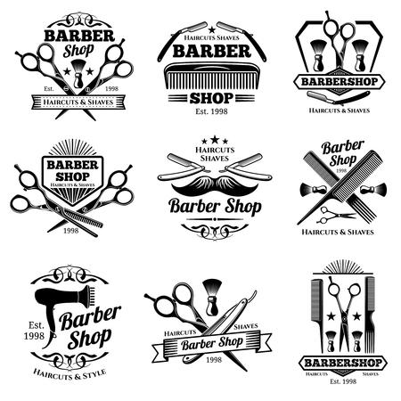 Vintage barbershop vector emblems and labels. Barber badges and logos. Barbershop logo and barber shop vintage label and badge illustration