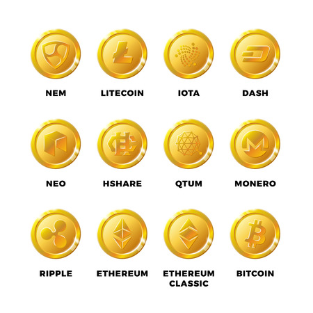 electronic background: Cryptocurrency gold coins with bitcoin, litecoin ethereum symbols vector. Set of golden coin bitcoin and ethereum, litecoin and blockchain illustration