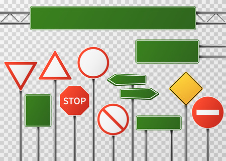 Blank street traffic and road signs vector set isolated. Collection of sign road, signpost and guidepost for transport illustration Illustration