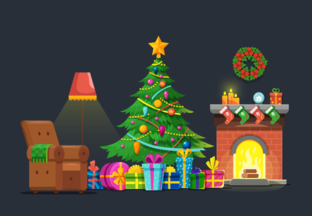 Cartoon living room with xmas tree and fireplace. Christmas holiday vector flat concept. Christmas fireplace interior, xmas in living room with furniture and green tree illustration Imagens - 87287707