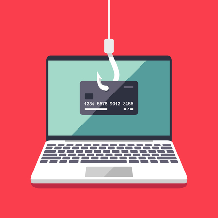 cyberwarfare: Internet phishing and hacking attack vector flat concept. Email spoofing and personal information security background. Illustration of internet attack on credit card