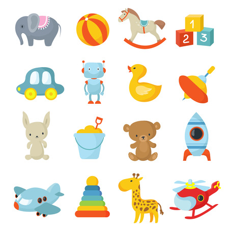 Cartoon style, childrens toys vector icons collection