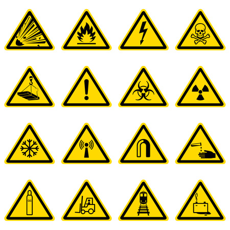 Warning and hazard symbols on yellow triangles vector collection