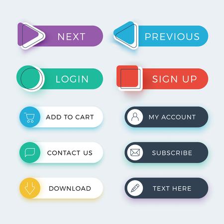 moda web y aplicación de usuario botones de color conjunto de vectores Ilustración de vector