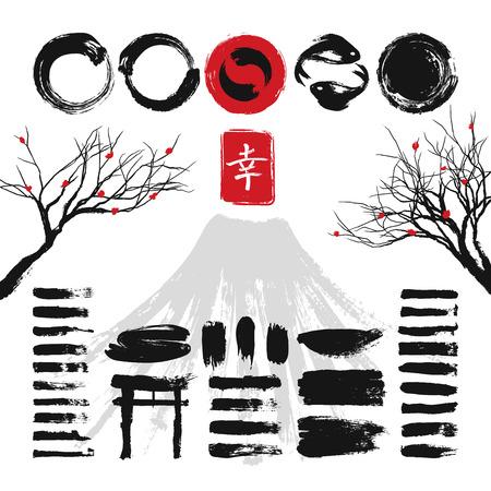 clutter: Japanese ink black texture stroke illustration Illustration