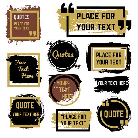 Quotes speech bubbles met frames en verontruste ruwe borstel textuur vector set