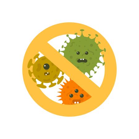 Detener la ilustración de vector de dibujos animados de microbios. Símbolo anti bacterias e infección de protección