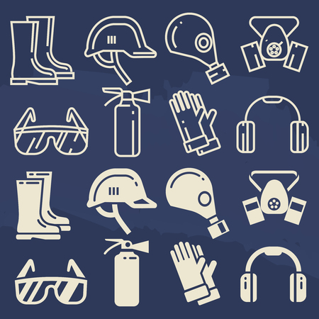 head protection: Personal protective equipment icons set - safety work protection elements. Vector illustration
