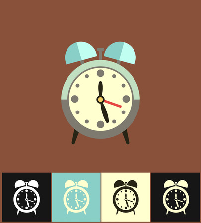 countdown: Clock icon. Flat vector illustration on different colored backgrounds. Blue analog clock icon of set