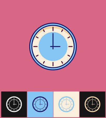 countdown: Clock icon. Flat vector illustration on different colored backgrounds. Blue simple clock