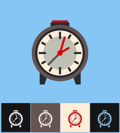 countdown: Clock icon. Flat vector illustration on different colored backgrounds. Brown analog clock set icons