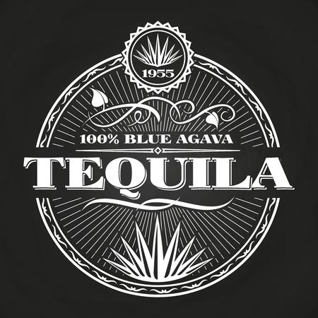 bourbon: Vintage tequila banner design on chalkboard. Poster alcohol, vector illustration
