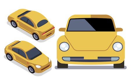 heavy industry: Vector flat-style cars in different views. Yellow isometric car cab illustration