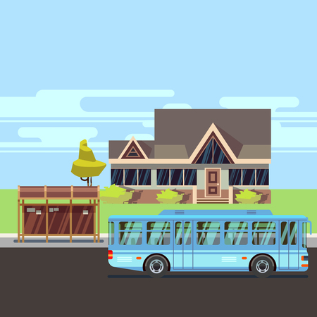 Residential old-style house with bus stop. Flat vector illustration Illustration