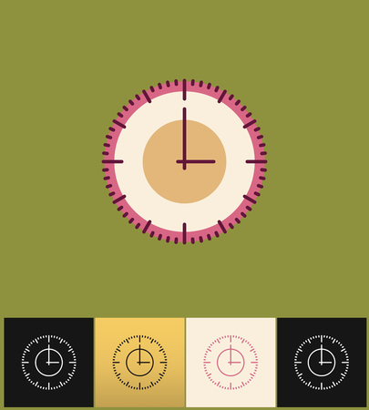 countdown: Clock icon. Flat vector illustration on different colored backgrounds. Pink simple clock