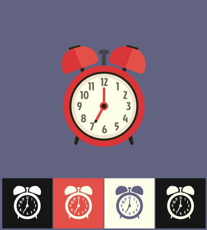 countdown: Clock icon. Flat vector illustration on different colored backgrounds. Red analog clock