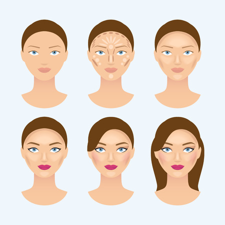 make up model: Stages of the makeup on the womans face. Beauty makeup girl portrait, vector illustration Illustration