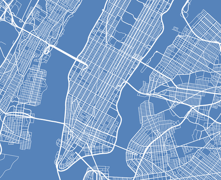 Aerial view USA New York city vector street map. City street aerial map new york illustration Banco de Imagens - 87662713