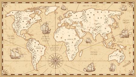 Vintage fysieke wereldkaart met rivieren en bergen vectorillustratie. Retro vintage oude wereldkaart met antieke reizen schip