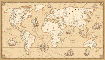 Vintage physical world map with rivers and mountains vector illustration. Retro vintage old world map with antique travel ship Ilustração