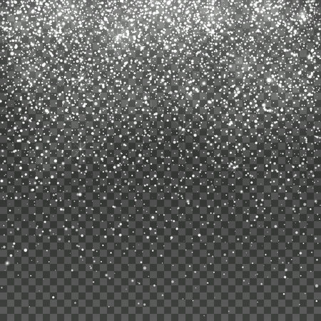 Falling snow isolated on transparent background. Christmas winter holiday vector background. Snowfall christmas flake, magic effect falling snowstorm illustration
