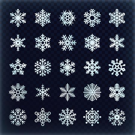 Festive vector snowflakes set. Christmas holydays decoration elements. Snowflake winter set, snow christmas illustration Banque d'images