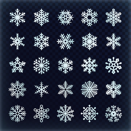 Festive vector snowflakes set. Christmas holydays decoration elements. Snowflake winter set, snow christmas illustration Stock Photo