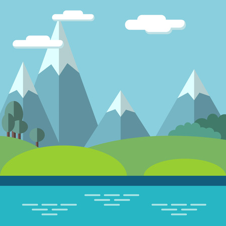 Pastoral landscape with mountains and trees. Summer outdoor meadow scene, vector illustration