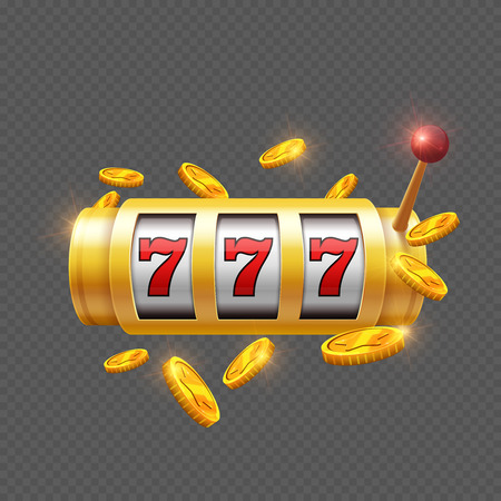 Winner gambling with slot machine isolated on transparent background. Vector illustration Vectores