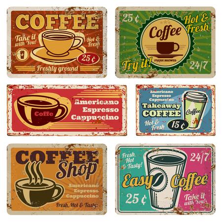Vintage coffeeshop en café metalen vector tekenen in de oude stijl van de jaren 1940. Vintage koffie poster grunge, banner met warme koffie illustratie