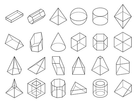 Abstract isometric 3d geometric outline shapes vector set. 3d isometric geometric shape cube and sphere illustration
