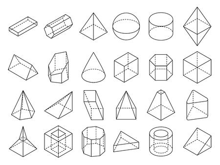 Insieme geometrico isometrico astratto di vettore di forme del profilo 3d. Illustrazione geometrica del cubo e della sfera di figura geometrica 3d Vettoriali