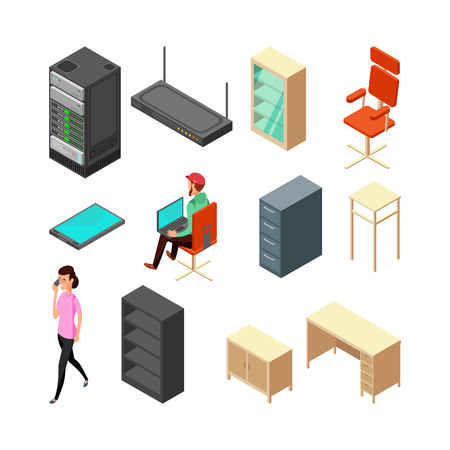 Set of office isometric icons. Server, armchair, table, cupboard and staff. Flat vector illustration. Office armchair and chair, table and router Illustration