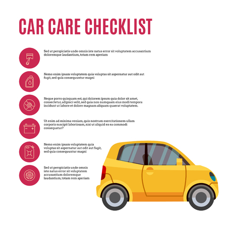 Cars care checklist. Yellow car and line icons. Vector illustration