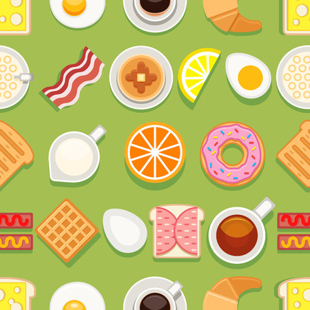 Breakfast seamless texture. Different meals and drinks colored on green background. Vector cartoon style illustration
