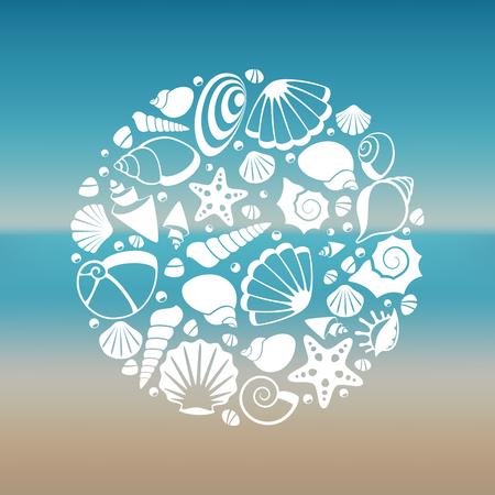 White seashell silhouette round concept. Graphic summer marine, vector illustration Illustration