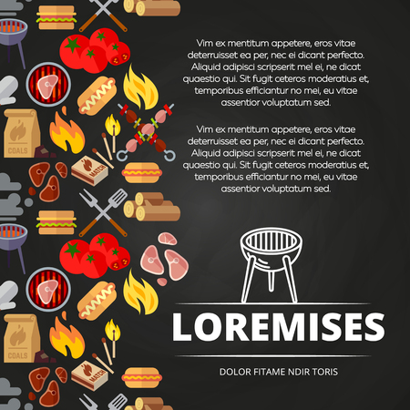 Barbecue, burgers and equipment chalkboard poster design. Vector illustration