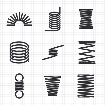 Steel wire flexible spiral springs Vector illustration
