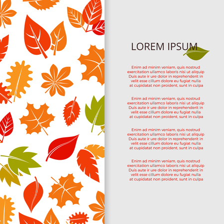 Autumn leaves banner design - fall colorful foliage poster. Vector autumn leaf fall, illustration of orange foliage season card