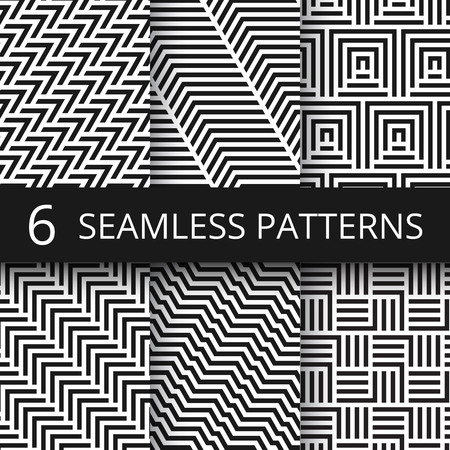 Striped geometric vector seamless patterns set. Kinetic art endless wallpapers. Illustration of geometric monochrome texture collection