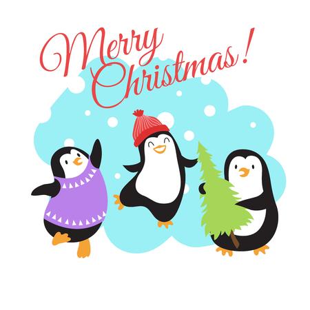 Christmas winter holidays vector greeting card with cute cartoon penguins. Christmas holiday greeting card with character penguins illustration