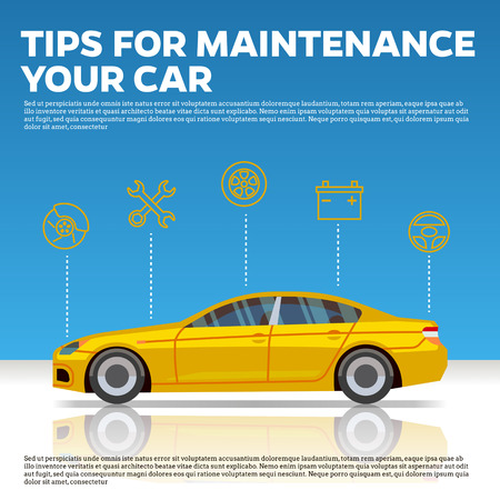 Car mainentance tips vector illustration. Yellow car and line icons on blue background with reflection. Service and repair automobile center
