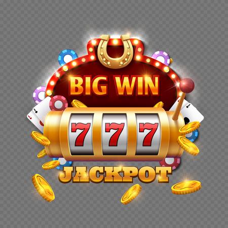 Het casino van de grote winstloterij dat op transparante achtergrond wordt geïsoleerd. Vector grote winst in machineslot, het gokken spelillustratie