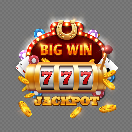 Big win lottery casino isolated on transparent background. Vector big win in machine slot, gambling game illustration