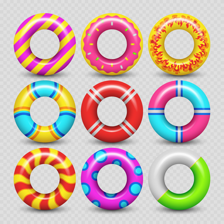 Colorful realistic rubber swimming rings isolated on transparent background. Vector illustration Ilustração